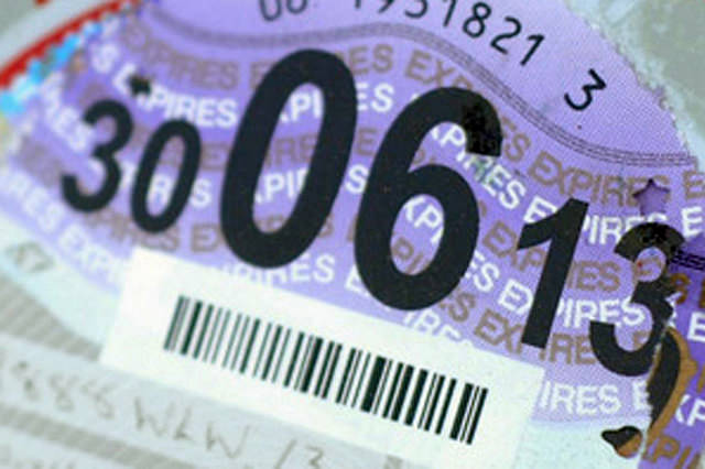 Close up of Tax Disc
