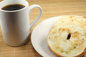 Image of coffee and bagel