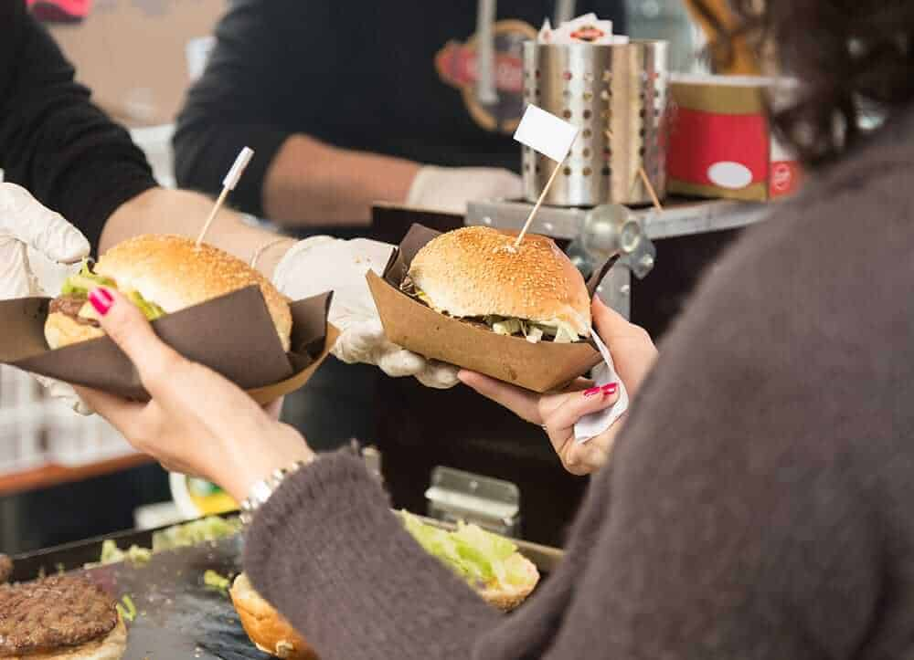 hamburgers to go at food market