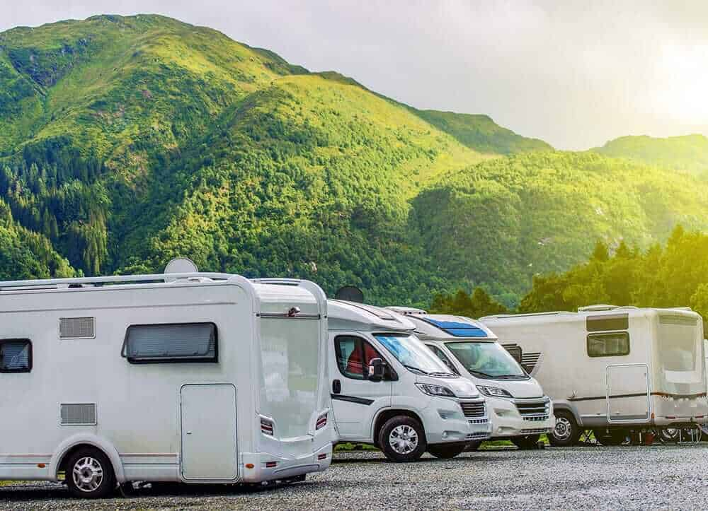 motorhome parking lot next to mountains