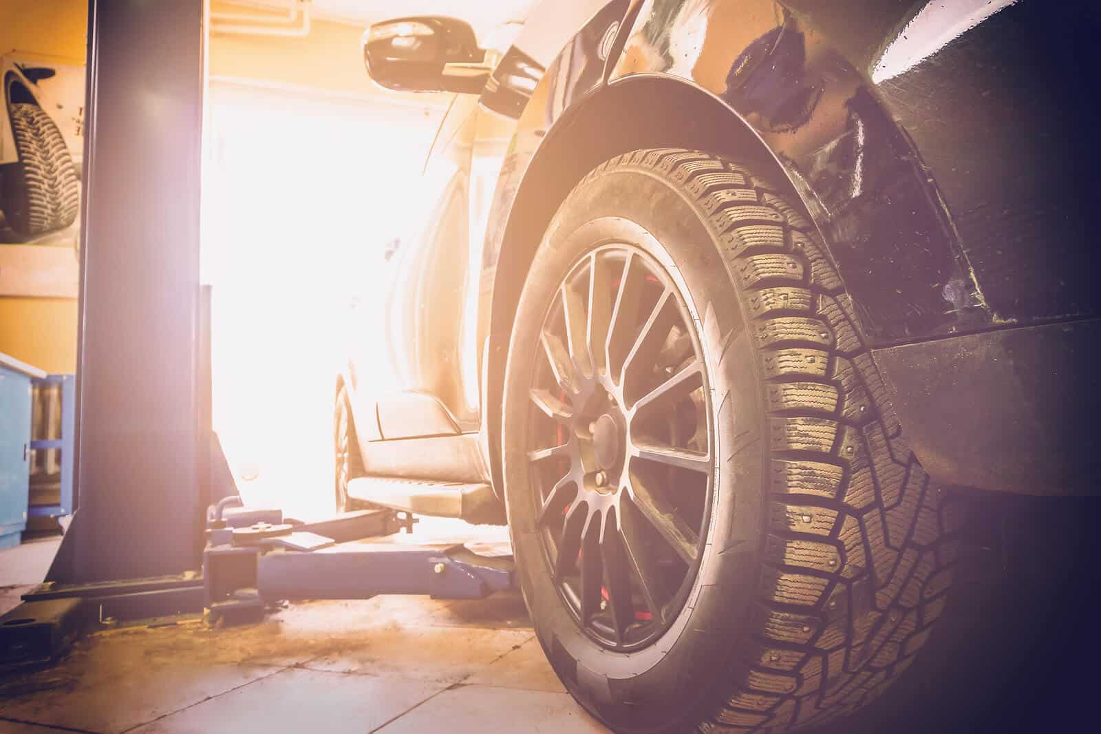 Car in mechanics garage