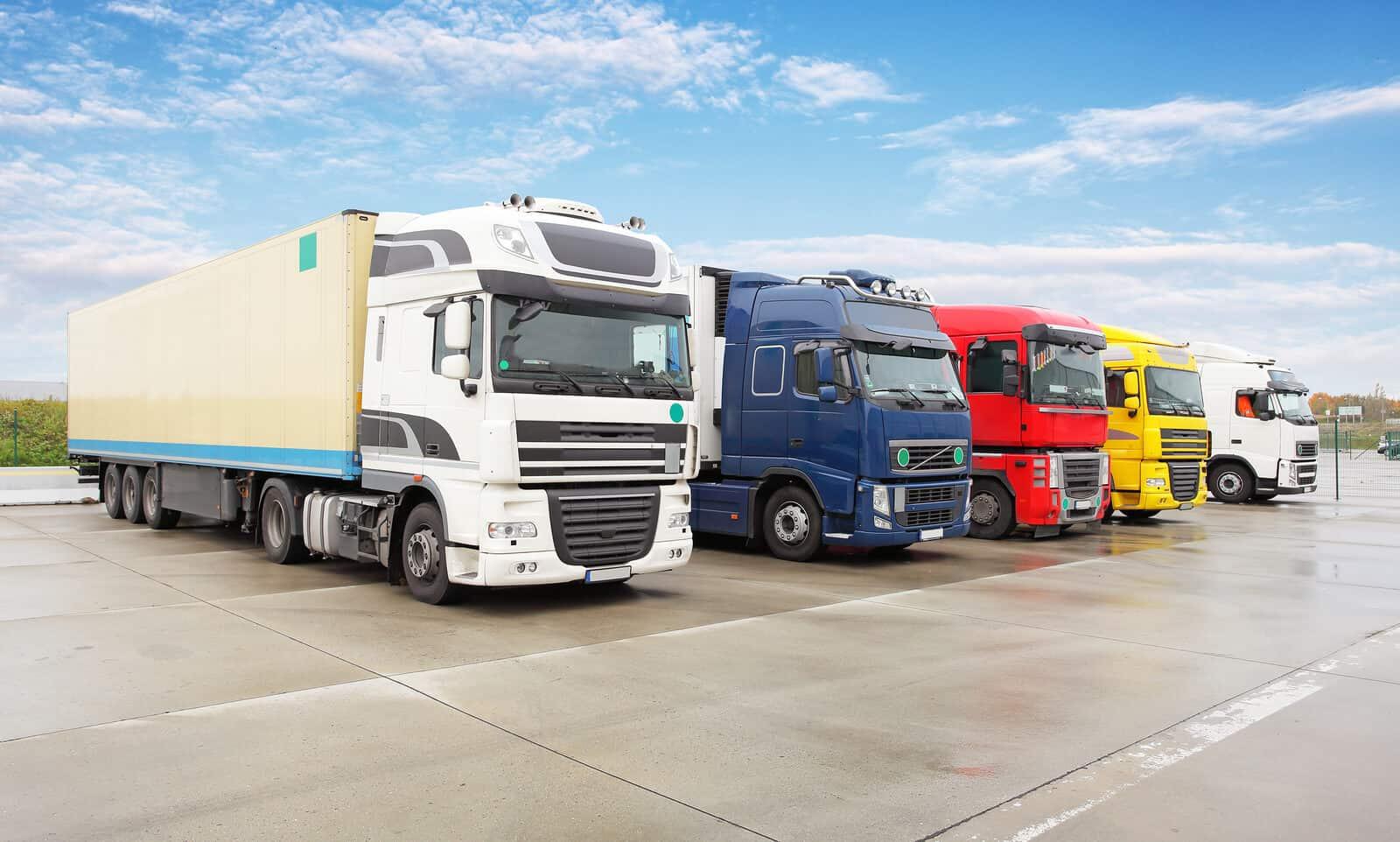HGV trucks in line
