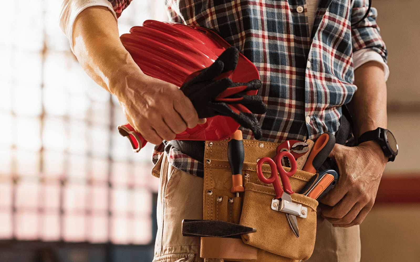 Builder with tool belt