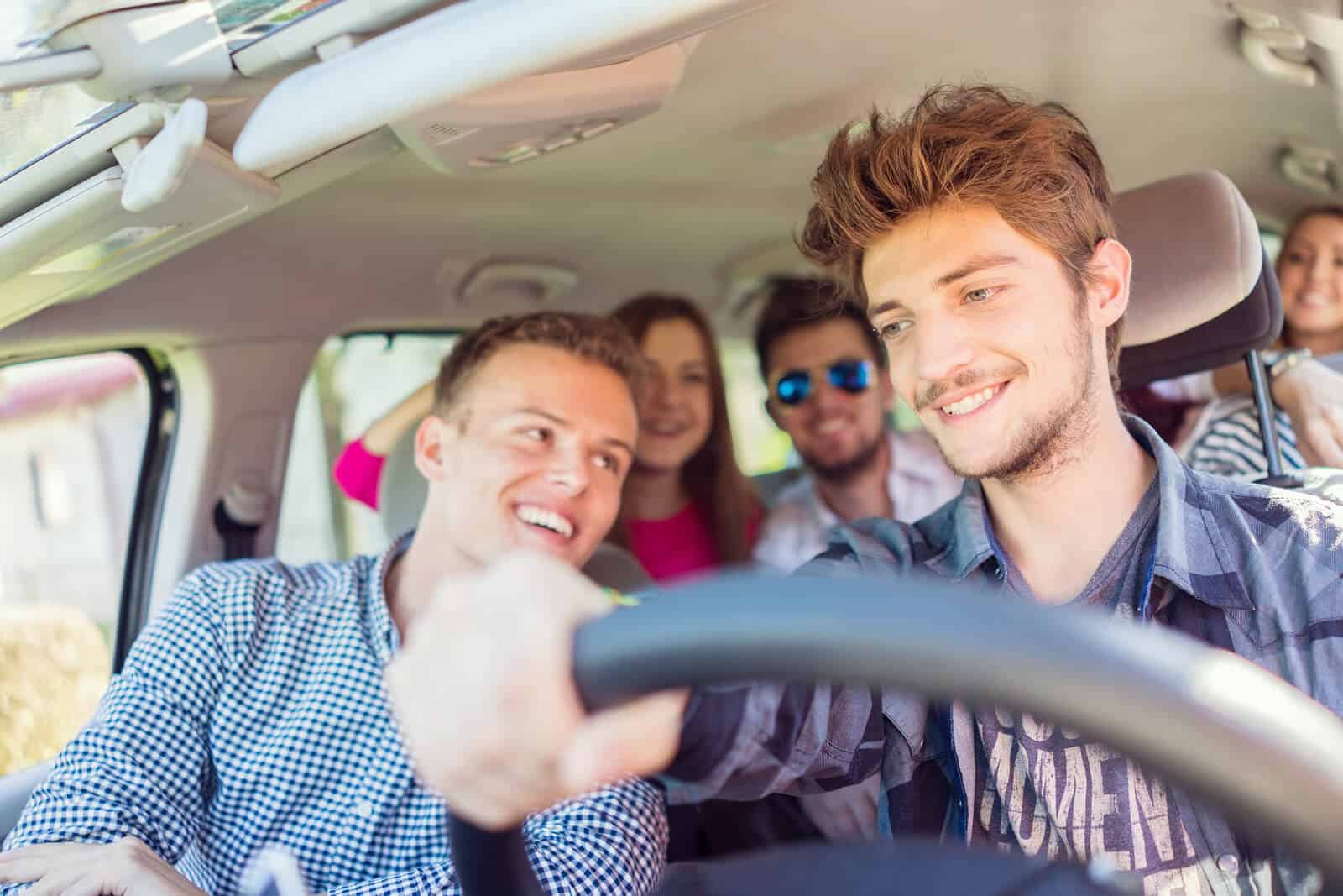 Young people on road trip