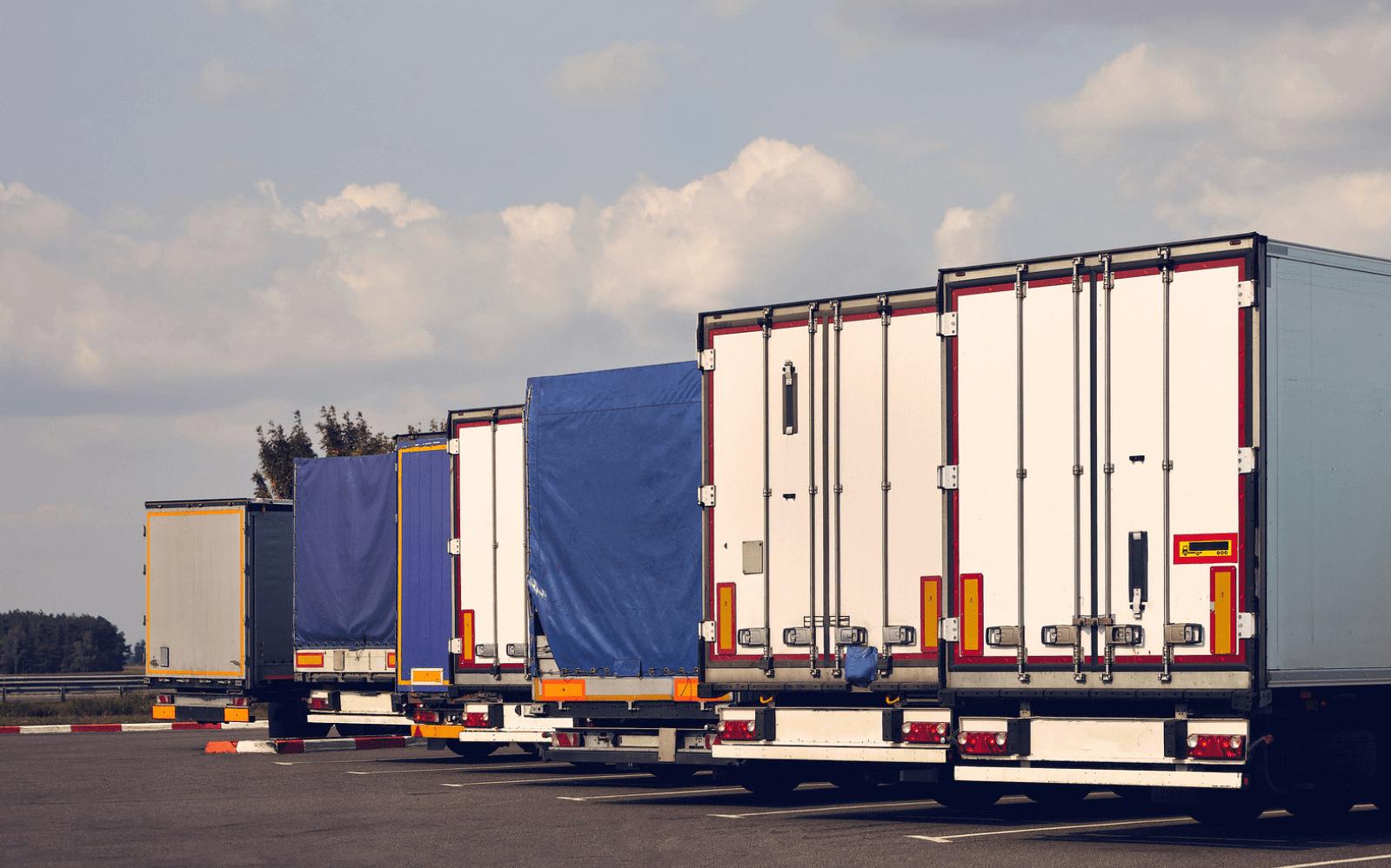 Lorries parked at truckstop