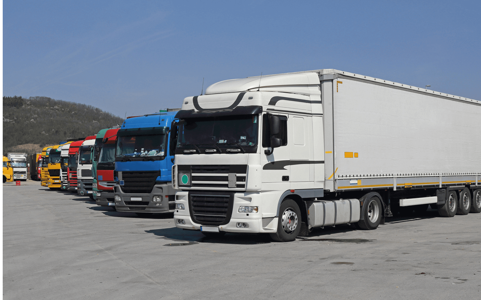 Front view of lorries at truckstop
