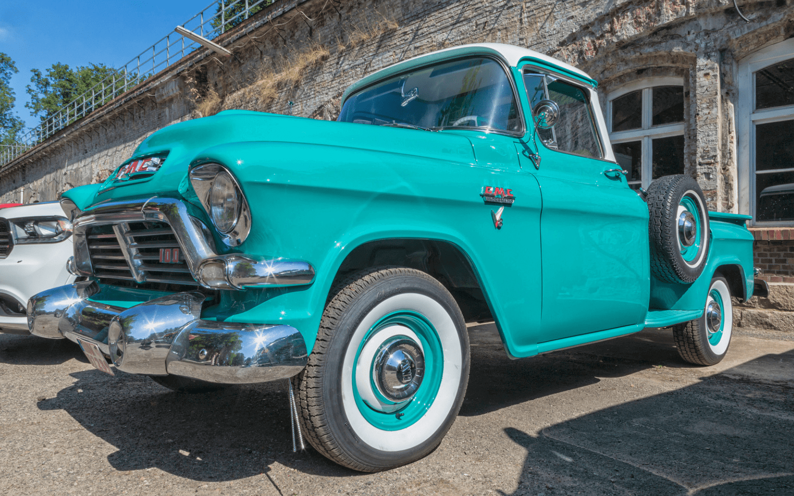 Blue American truck parked