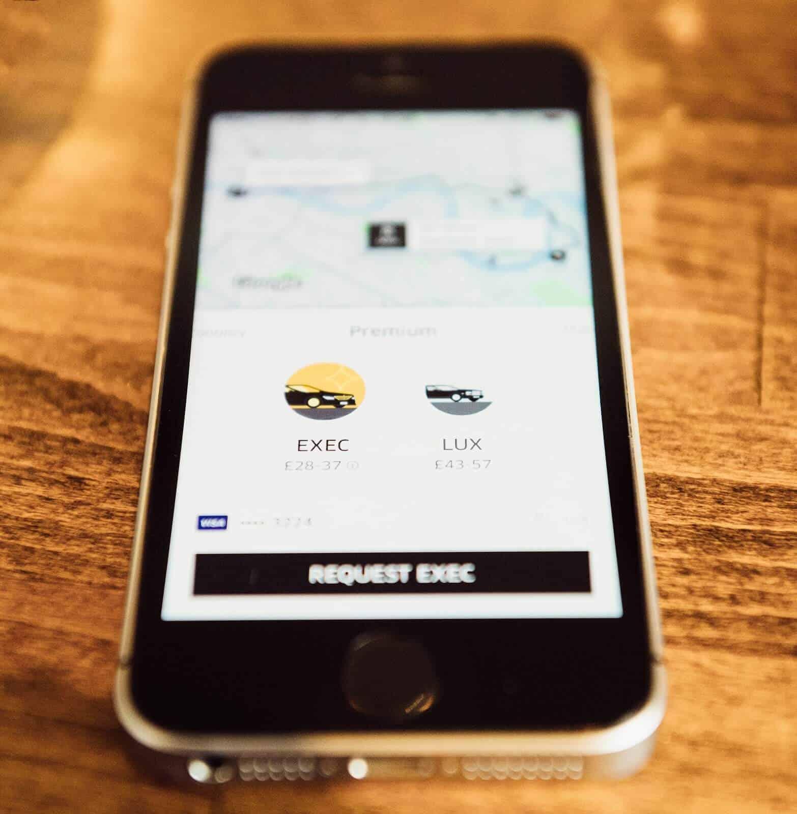 Using Uber on smartphone