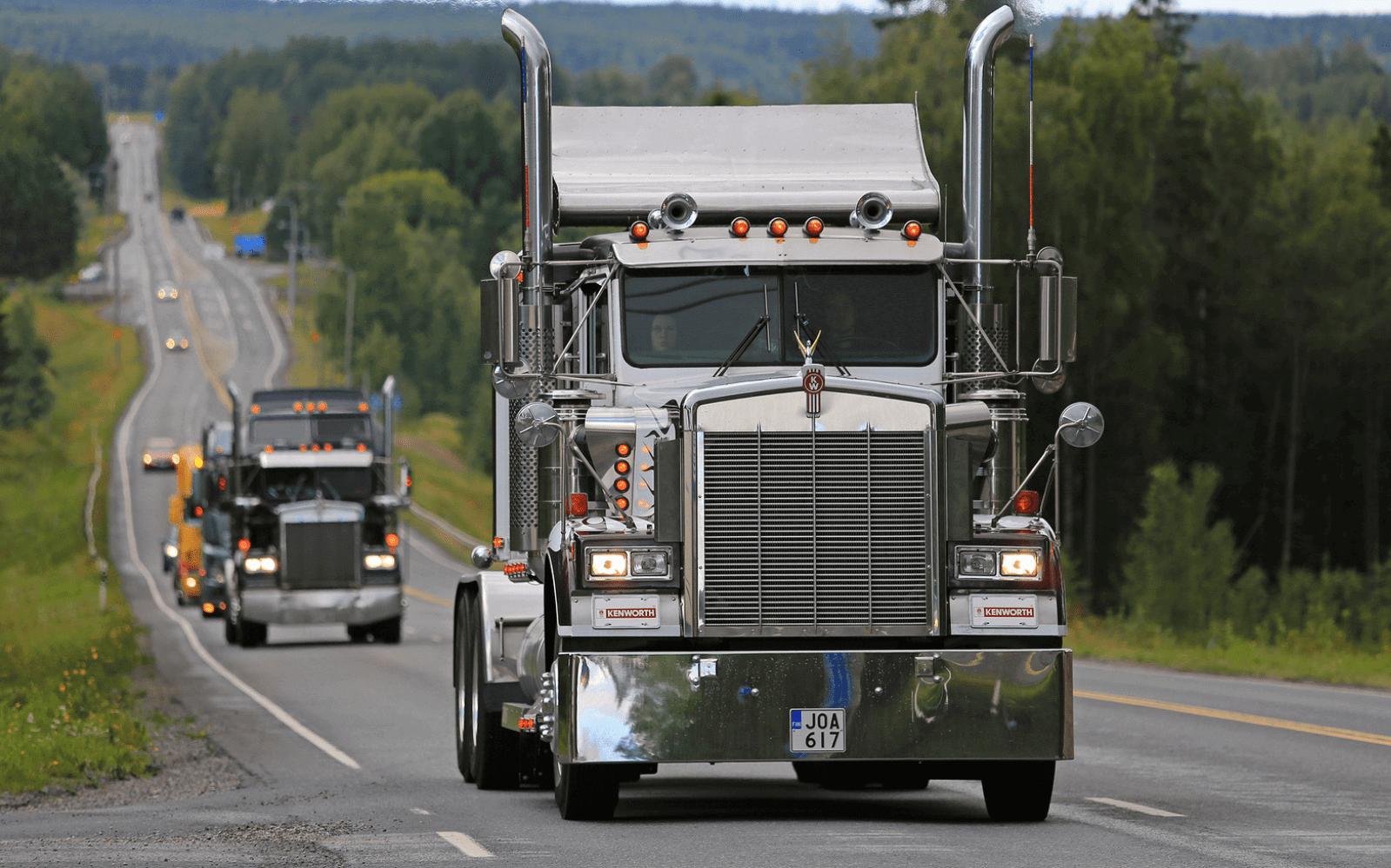 Convoy of classic trucks