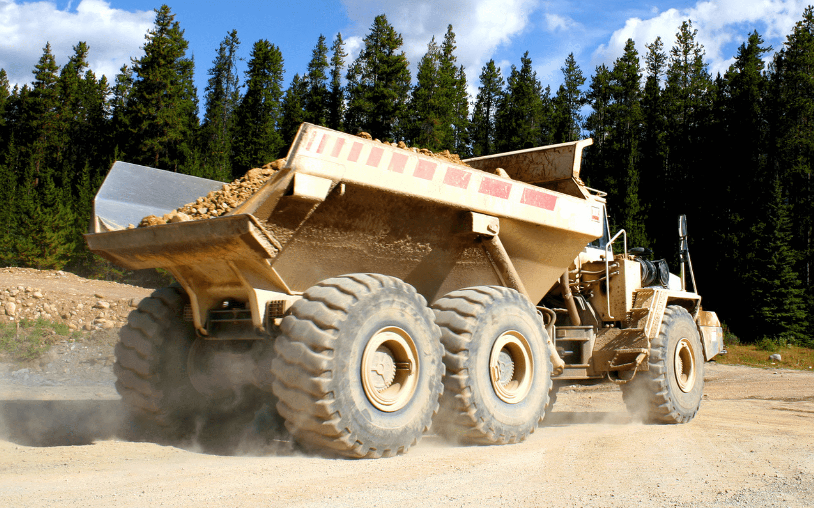 Industrial dump truck on site