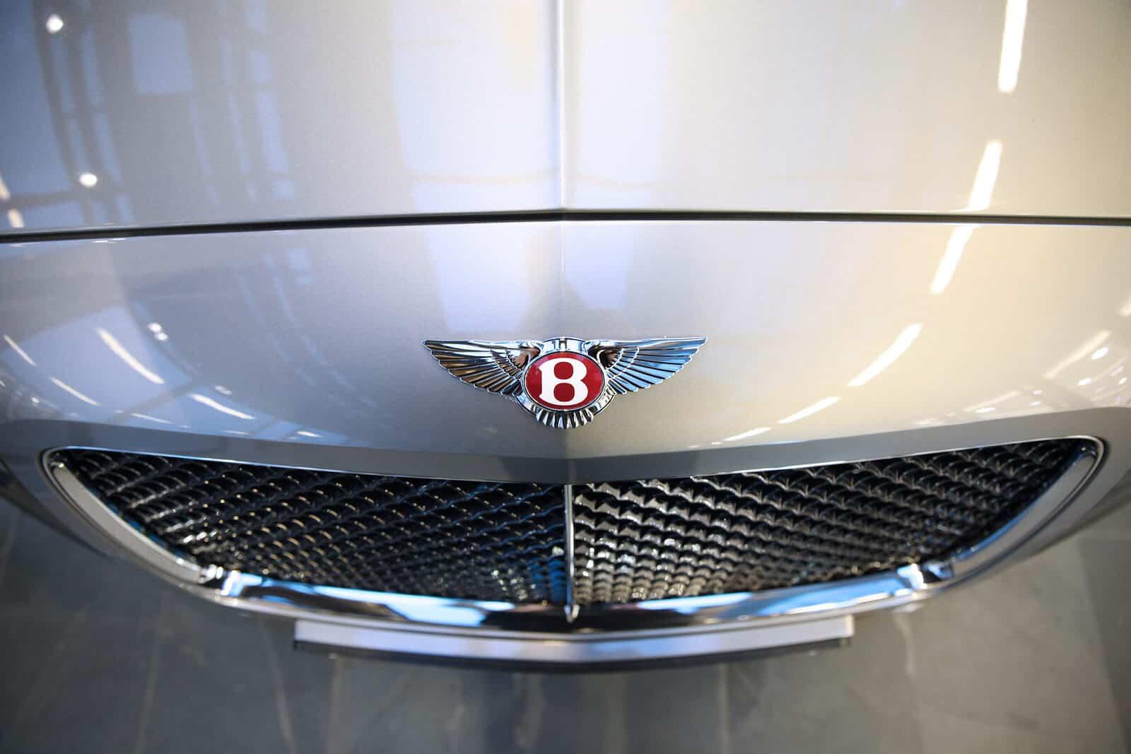 Hood of silver Bentley