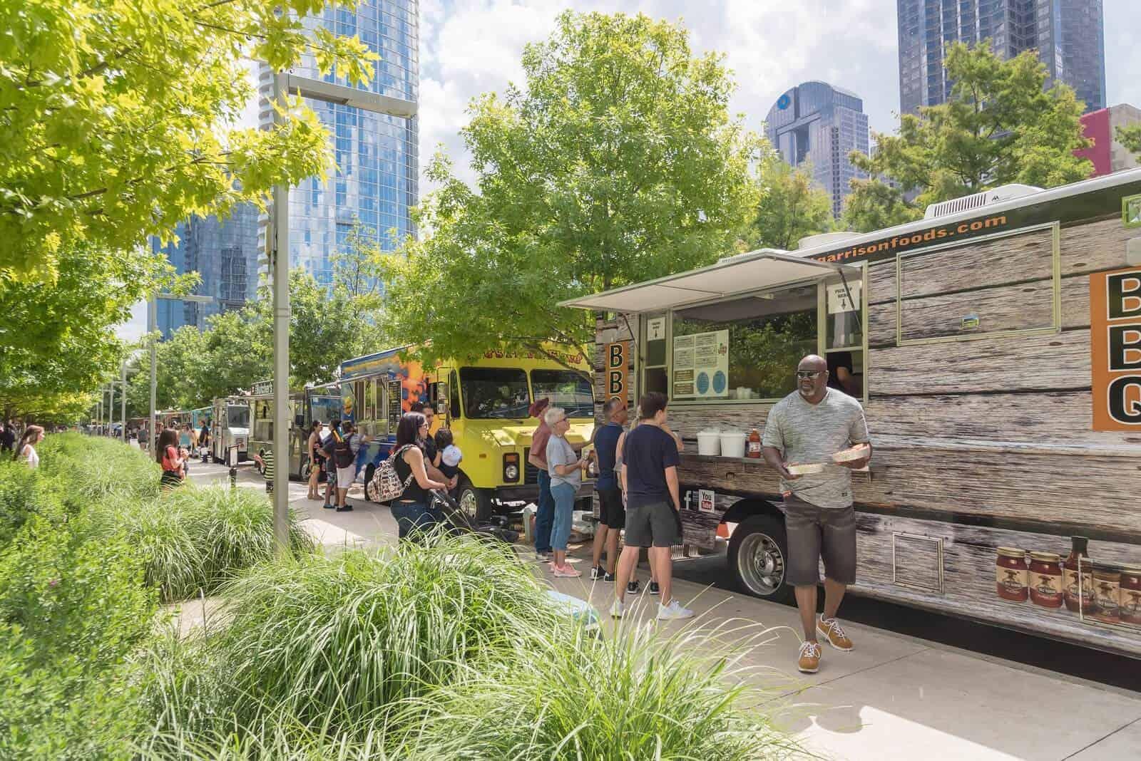 Food van serving people