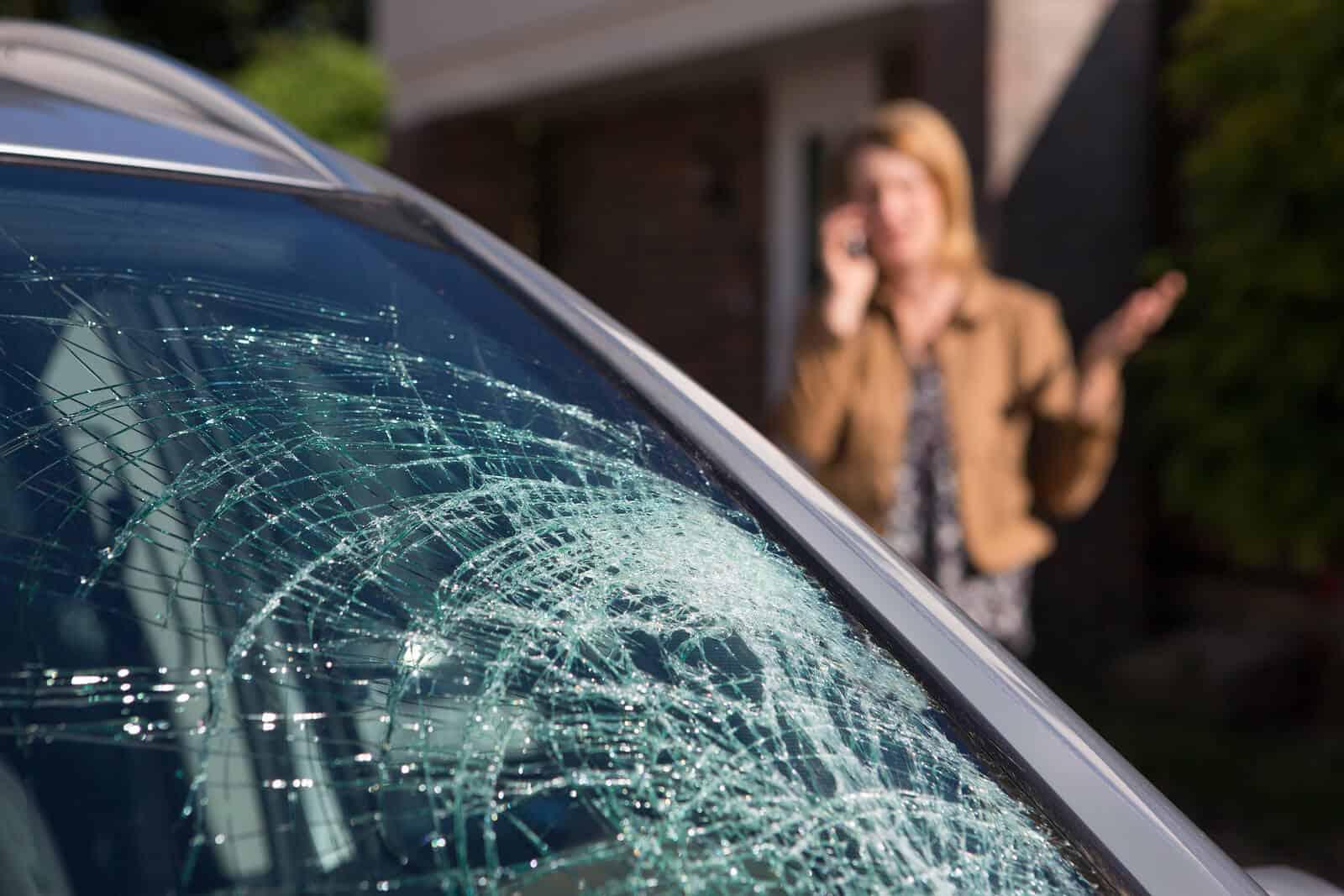 Woman calling about broken windscreen