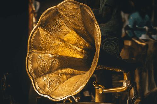 Antique gold gramophone