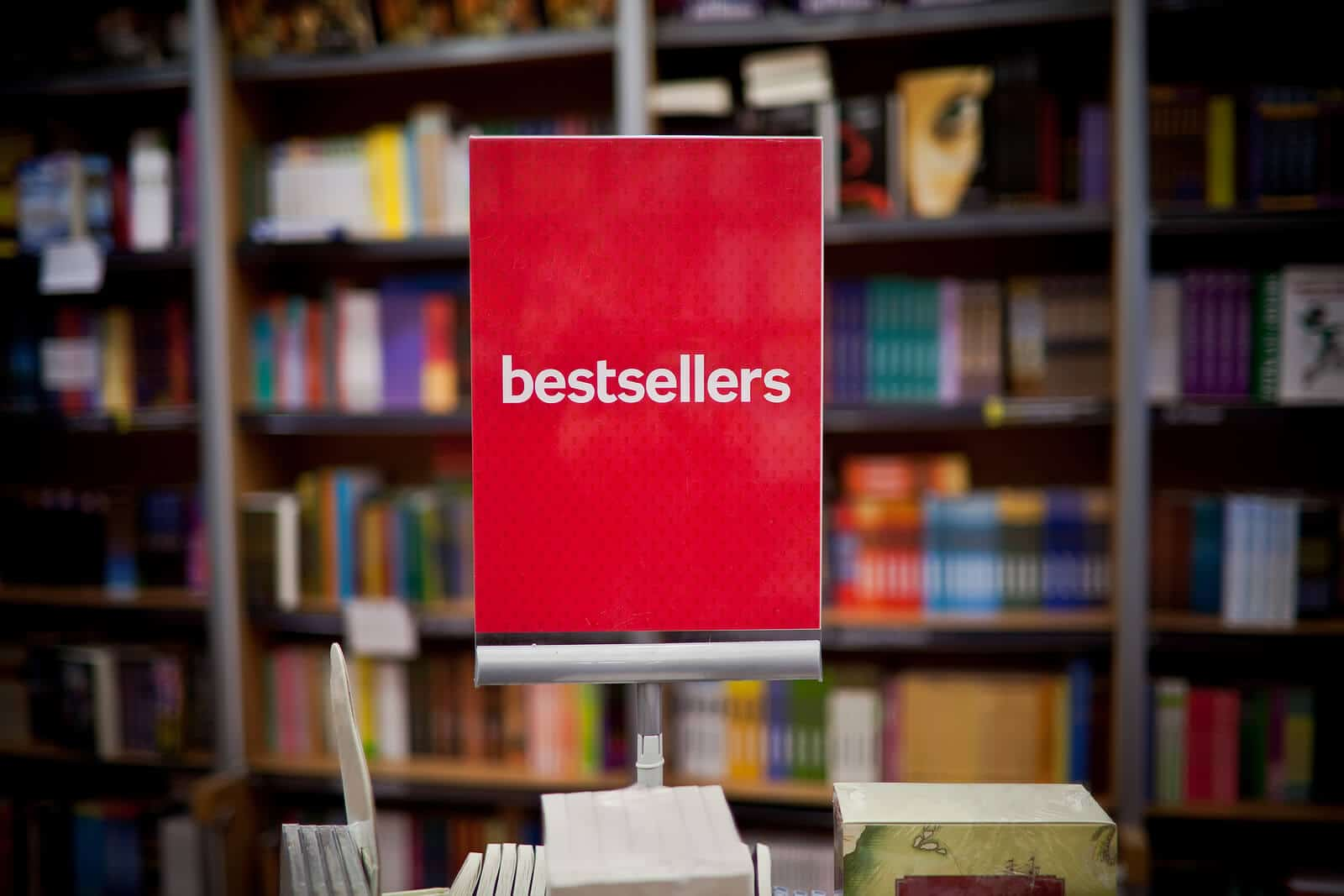 Bestsellers area in bookshop