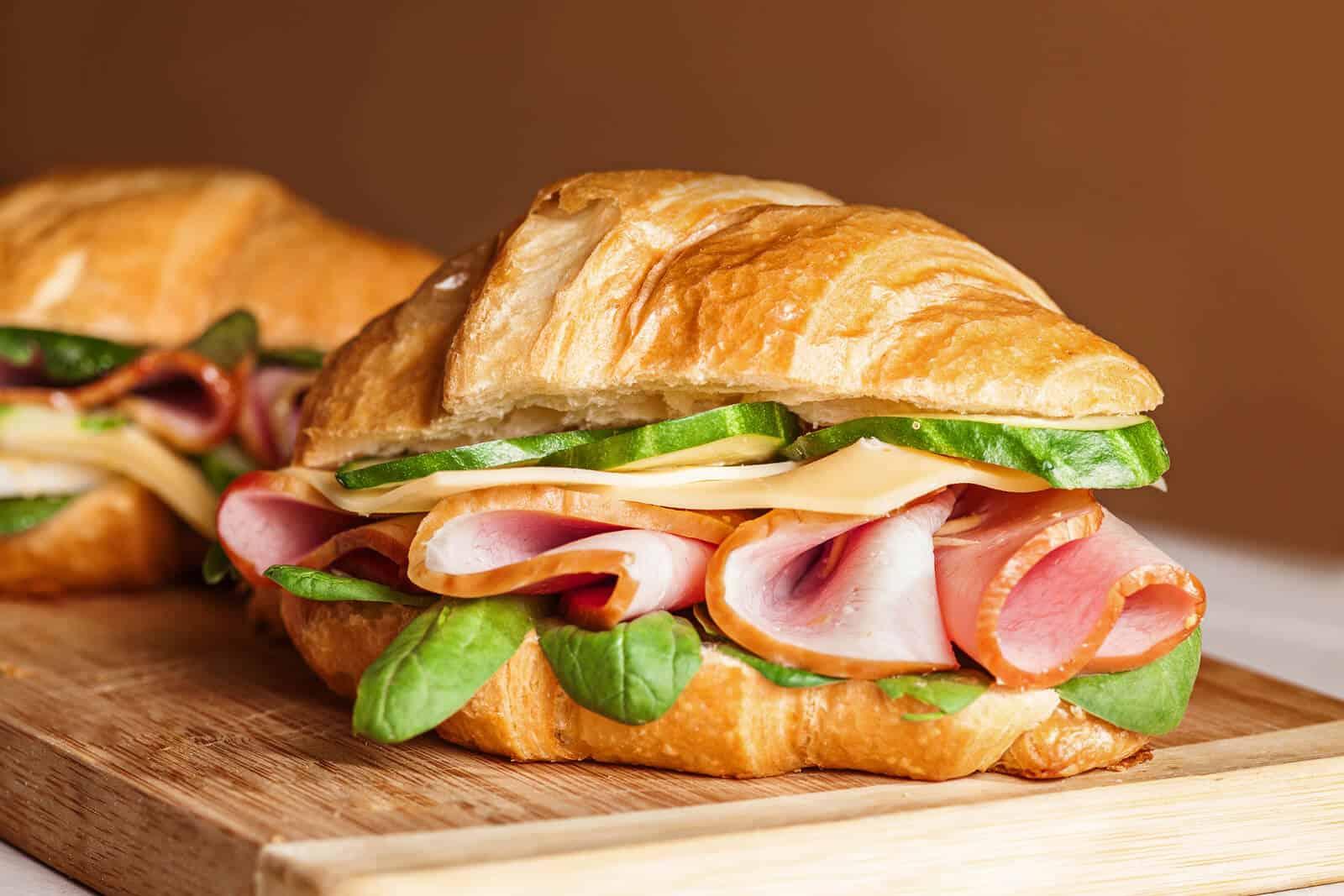Delicious sandwich croissant