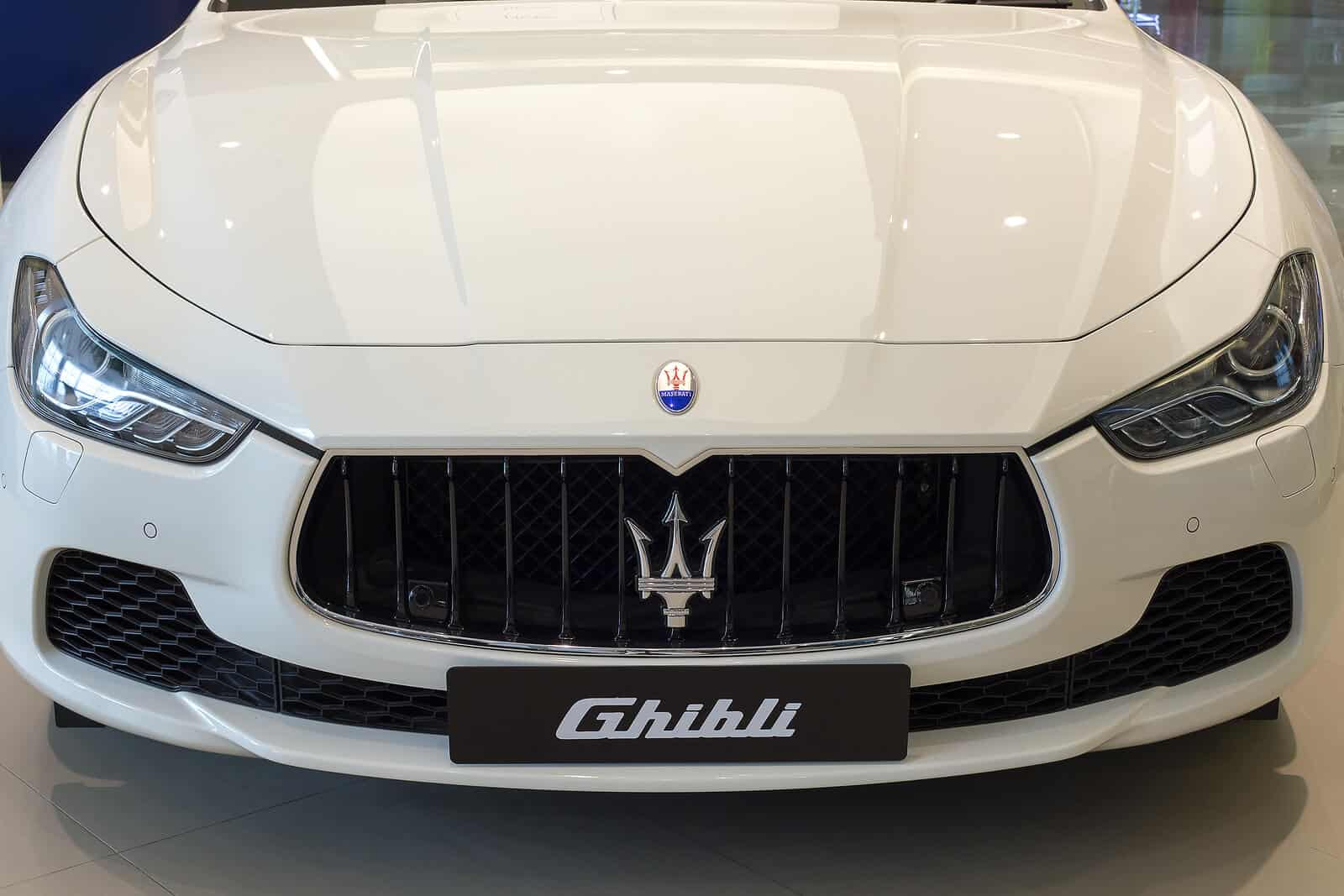 Hood of white Maserati