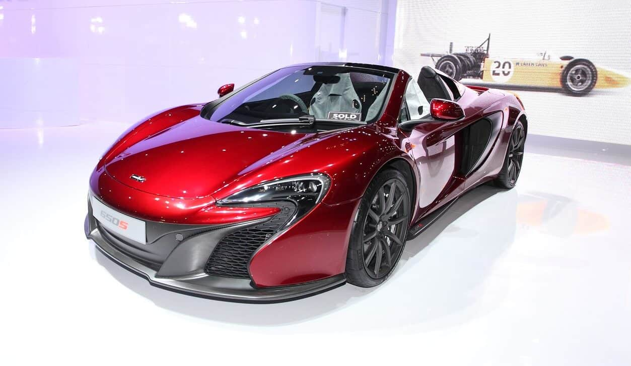 Red McLaren car at show