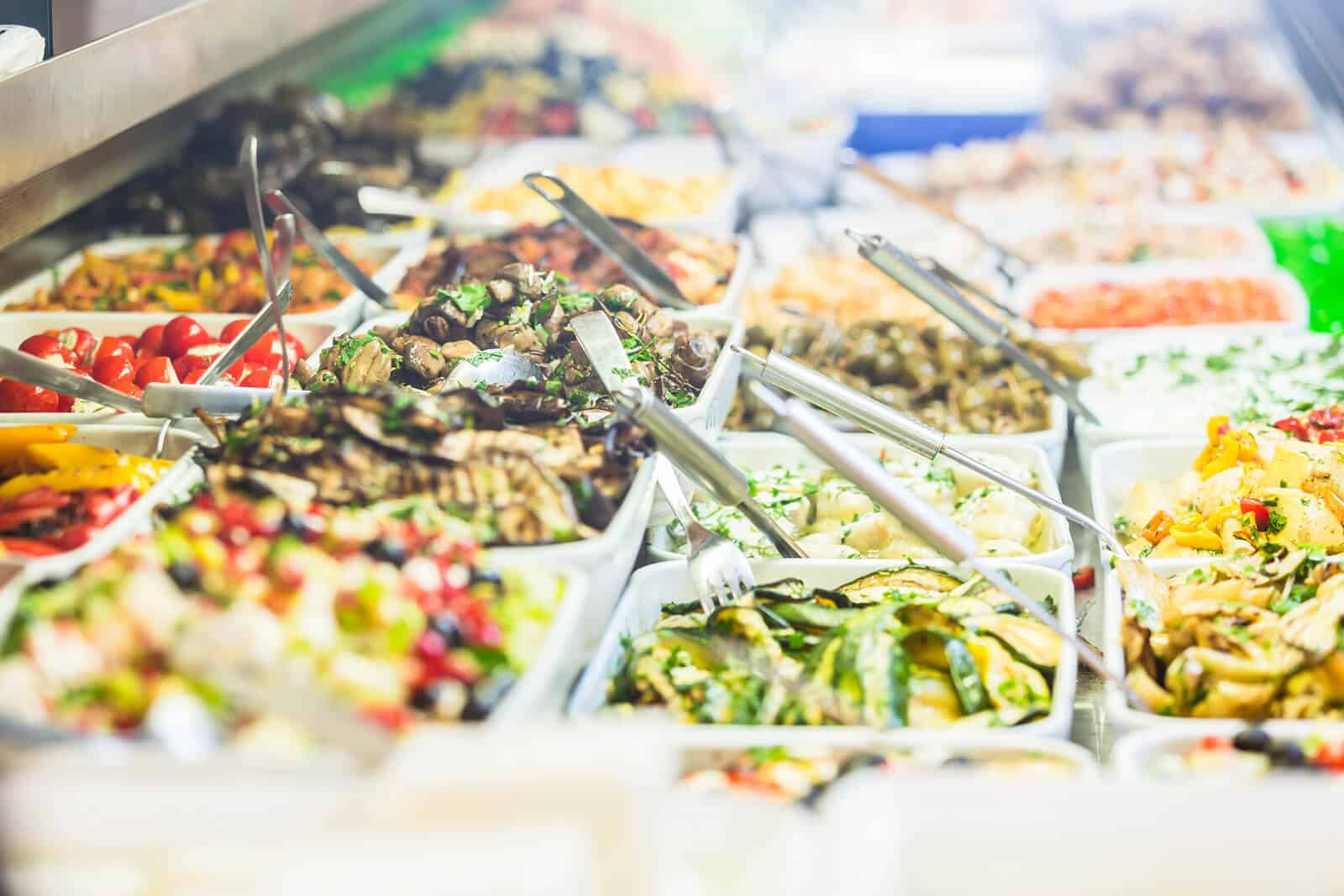 Mezze food in a deli
