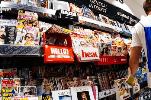Big shelf of magazines