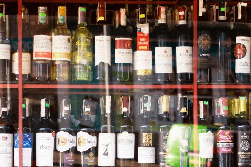 Bottle stacked in window