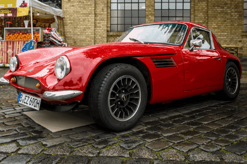 Red TVR on street