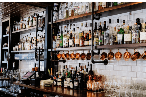 Bottles behind bar