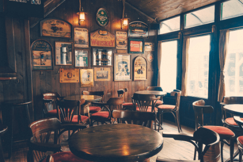Seating in old fashioned tavern