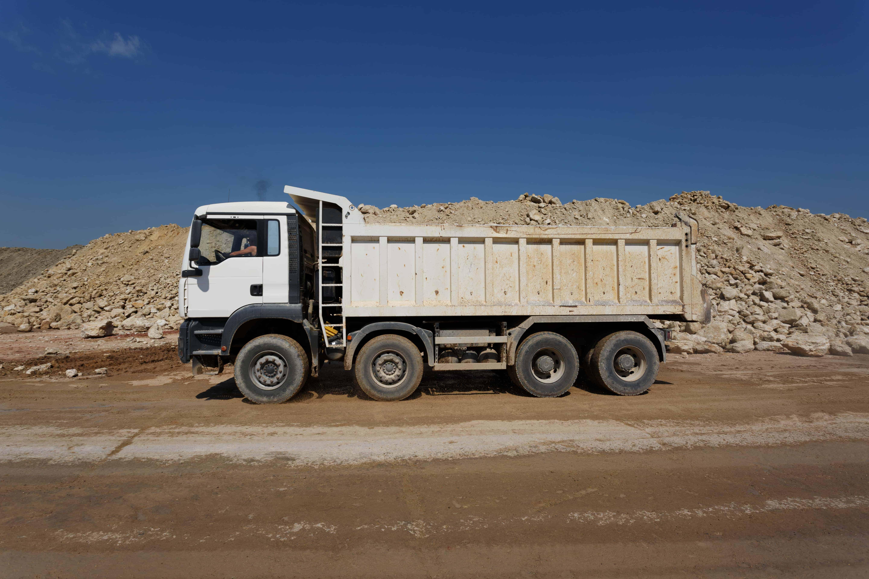 Truck hauling building materials