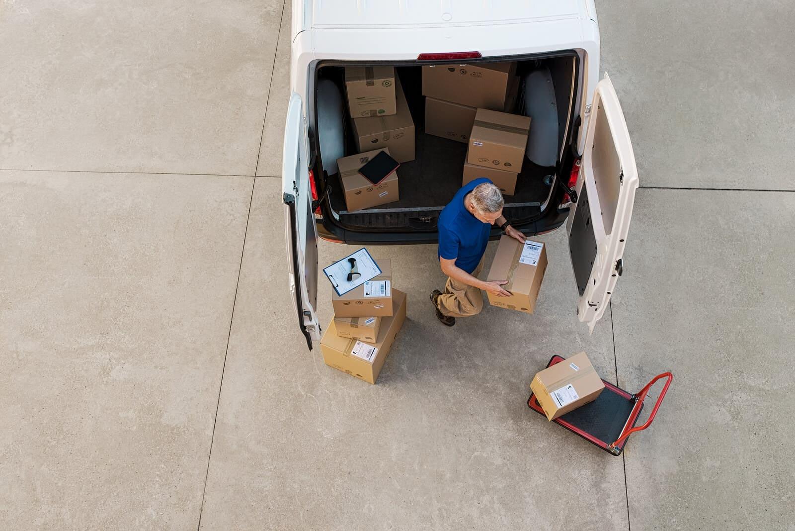 Courier van being unloaded