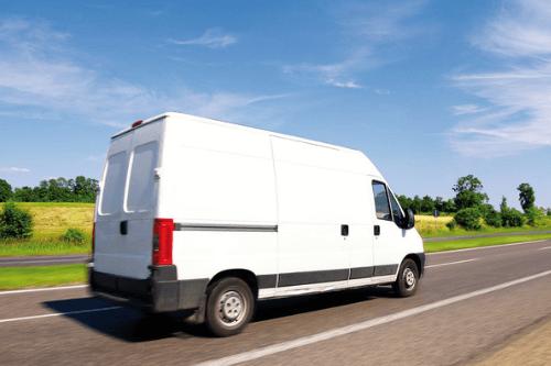 Van driving down motorway