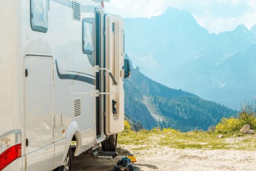 Caravan with scenic view