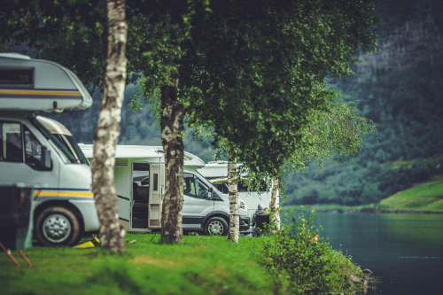 Motorhomes looking out on lake
