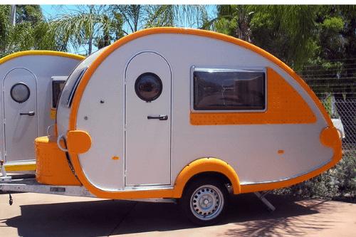 Teardrop caravan parked up