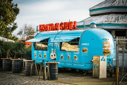 Brightly coloured burger van