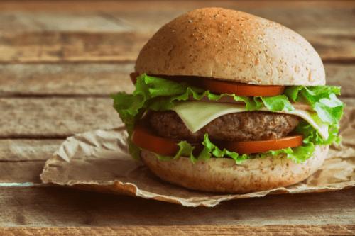 Close up of hamburger