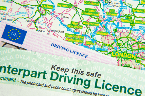 UK driving license close up