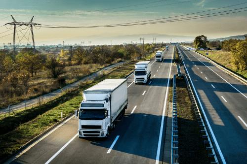 Caravan of lorries