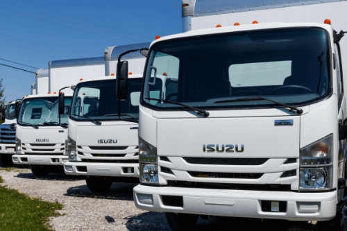 Row of Isuzu lorries