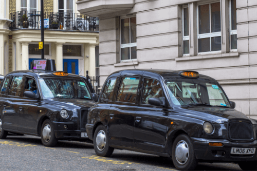 Row of black cabs