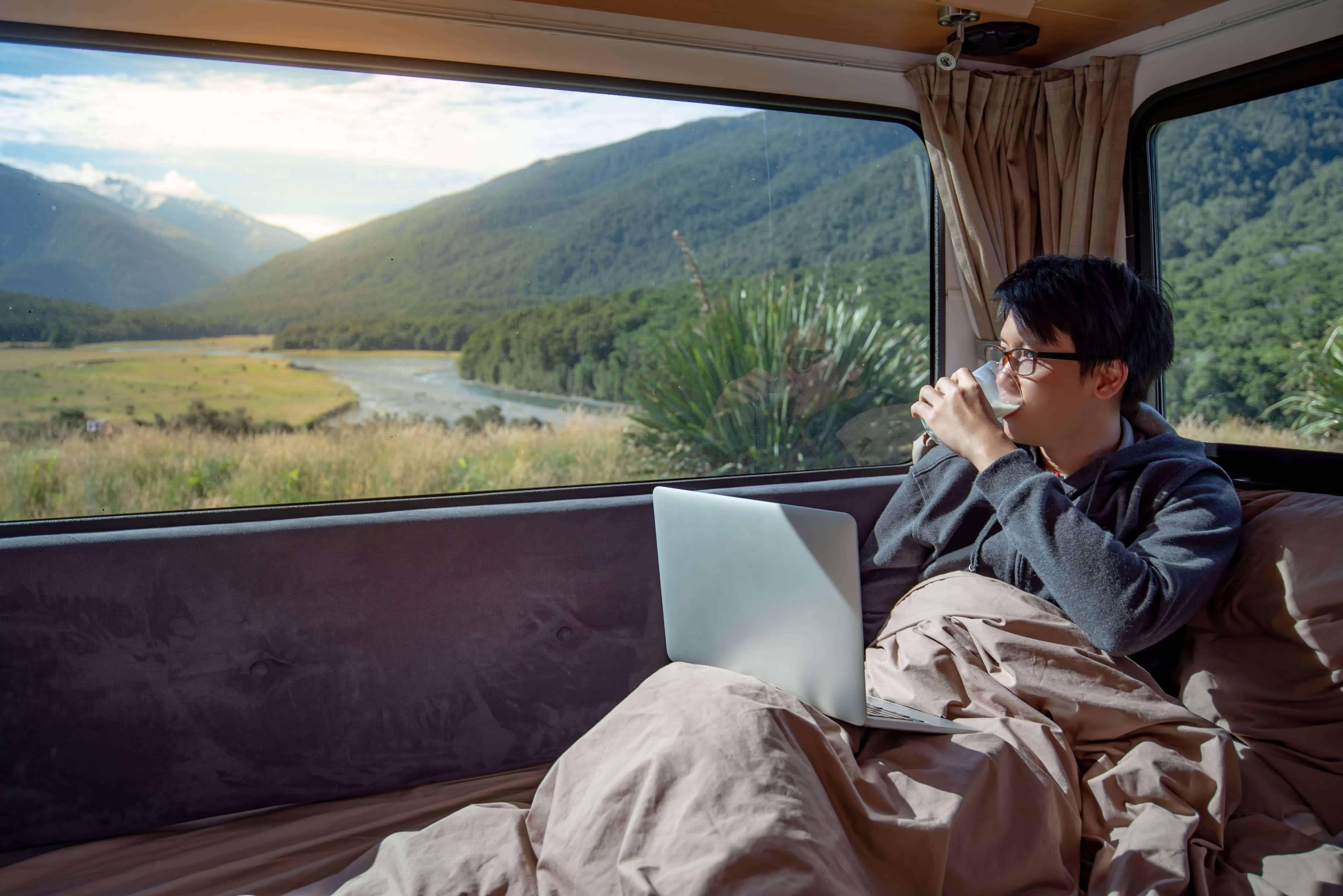 Digital nomad in motorhome