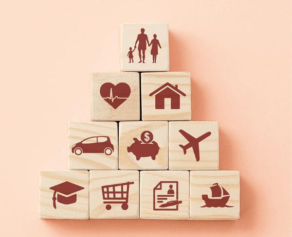 Blocks representing insurance types