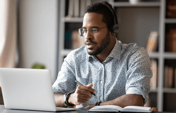 Man chatting on headset