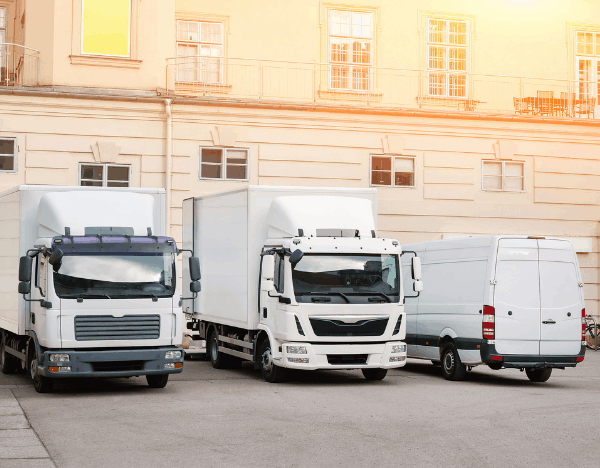 Different commercial vehicles parked