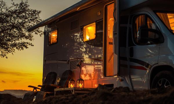 Sunset behind motorhome