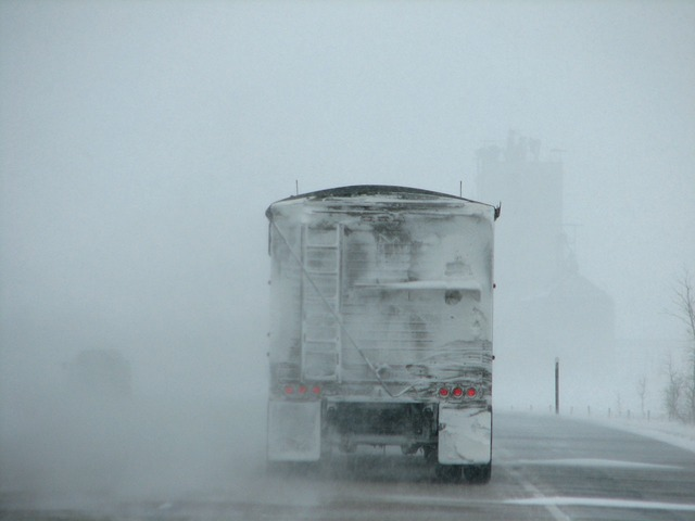 Image of lorry in snow