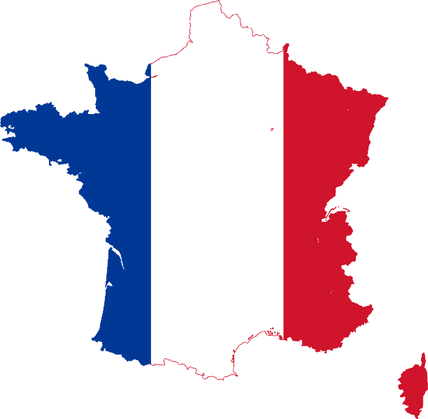 Image of France in French Flag Colours