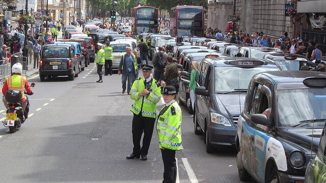 Image of London Taxi Drivers Protesting
